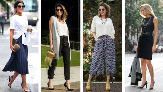 Inspirações de looks com saia, calças e vestido.